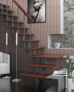 Модульная лестница (c поворотом на 90° и площадкой)